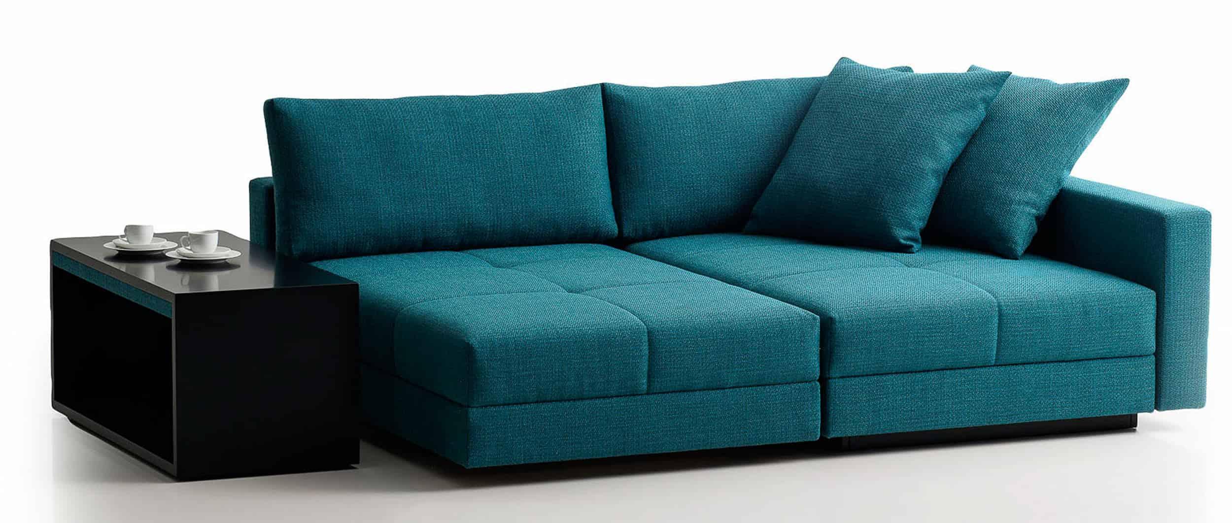 Ecksofa COCCO mit Bettfunktion von Franz Fertig . Schwenkbares Sitzelement. Beistelltisch mit rollen. Schlafsofa mit Bettkasten. Ecksofa mit Bettfunktion