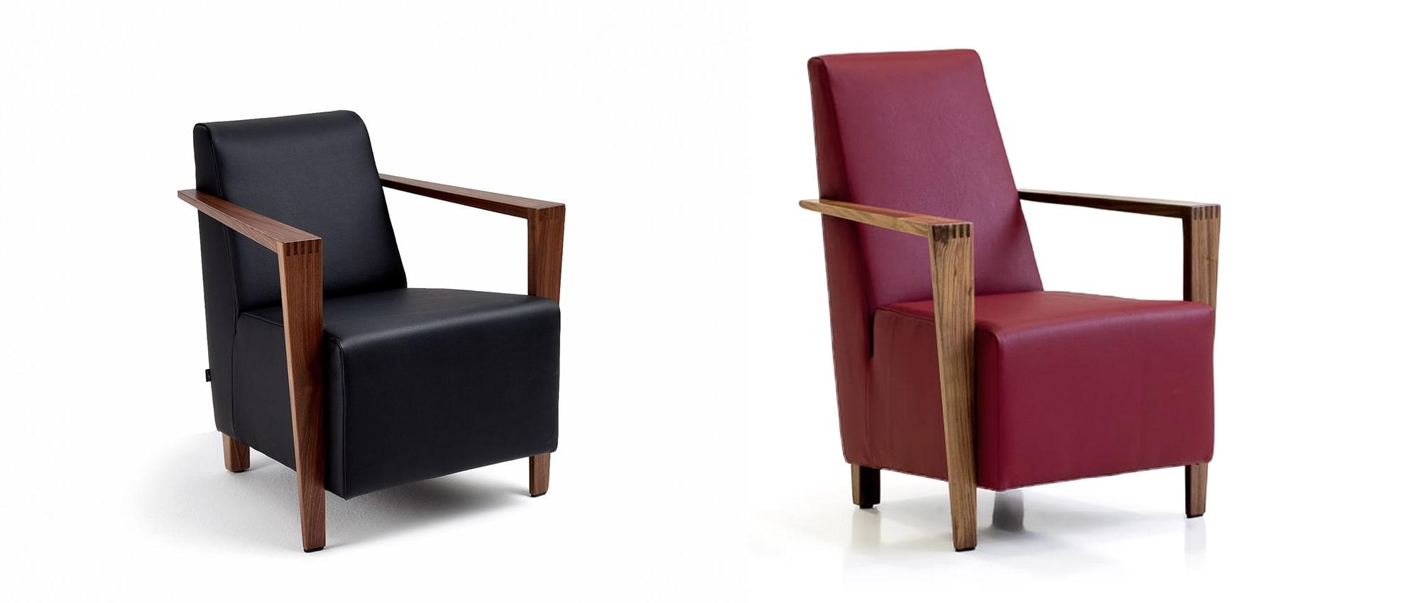 DRESDEN Sessel von Franz Fertig mit unterschiedliche hohen Rückenlehnen in Leder schwarz und rot