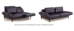 Schlafsofa LETTO von Franz Fertig in Leder schwarz mit Holzfüßen. Holz und Metall als Fuß wählbar. Liegefläche ist ca. 180x200 cm.