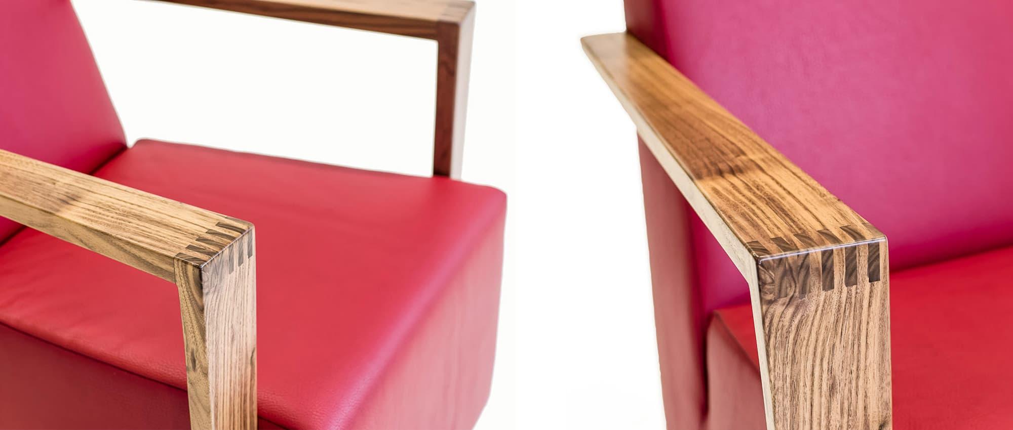 Nahaufnahme der Holzarmlehne vom Sessel DRESDEN von Franz Fertig. Eichenholzarmlehne in verschiedenen Farben möglich.