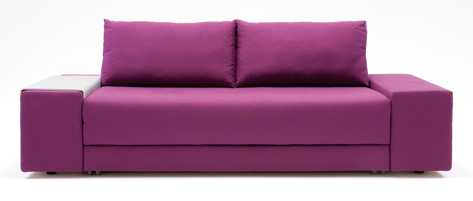 CONFETTO Schlafsofa von Franz Fertig mit Tablett. Liegefläche in ca. 130x230 cm und ca. 150x230 cm erhältlich. Gästebett für 2 Personen.