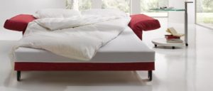 MALOU Schlafsofa von Franz Fertig - Liegefläche in ca. 130x200 cm, ca. 150x200 cm und ca. 180x200 cm erhältlich. Sofa mit Gästebett Funktion für 2 - 3 Personen. Sofa mit Schlaffunktion in rot.
