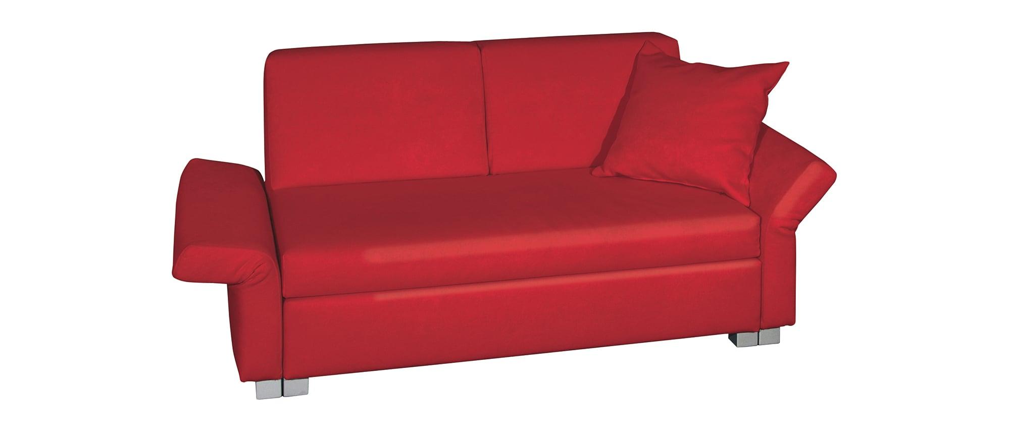 Schlafsofa MINNIE von Franz Fertig mit klappbaren Armlehnen. Sofa mit Bettfunktion. Sofa in rot.