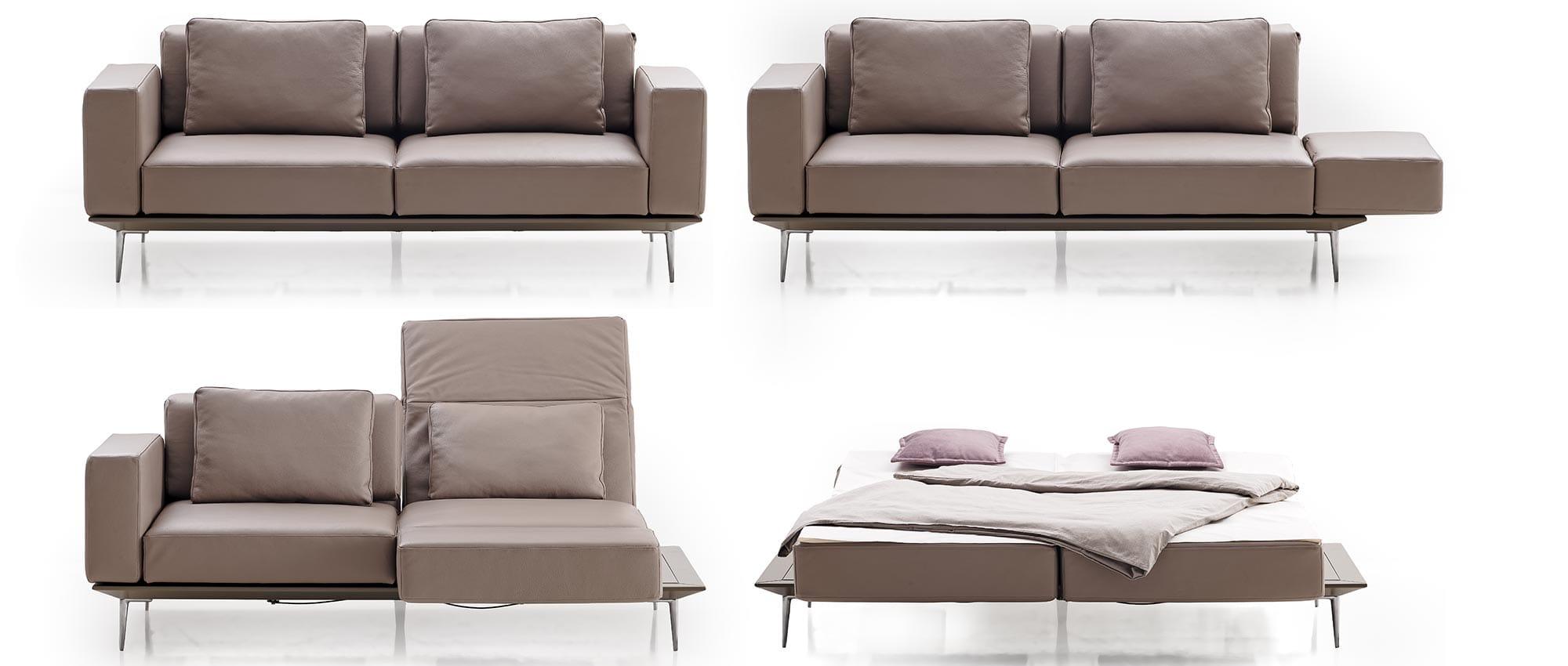 Schlafsofa MILAN von Franz Fertig in verschiedenen Positionen. Schlafposition, Relaxposition, Loungeposition. Als Einzelbett und Doppelbett nutzbar. Leder und Stoff sind bei Franz Fertig wählbar.