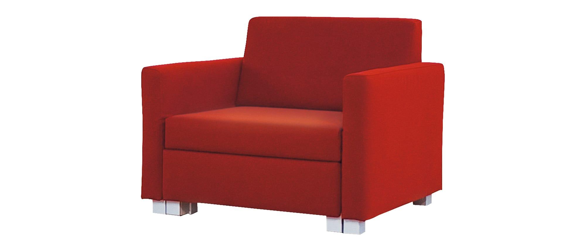 MINNIE Schlafsessel von Franz Fertig in rot. Schlafsessel für eine Person. Sessel mit Bettfunktion.