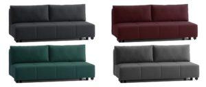 Schlafsofa COSTA mit Bettkasten von Franz Fertig in schwarz, dunkelrot, grün und grau. Auch in weiß, gelb, grün, braun usw. erhältlich. Franz Fertig hat eine große Stoffauswahl.