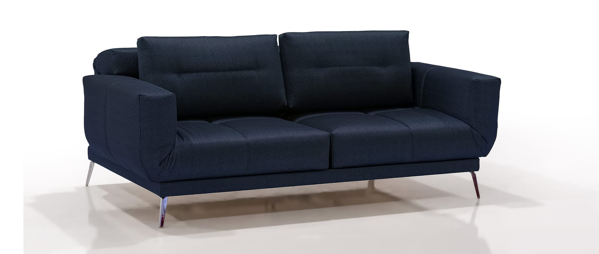 Schlafsofa LETTO von Franz Fertig in blau mit Chromfüßen. Holzfüße auch möglich. Gästebett für 2 Personen. Sofa mit Schlaffunktion.