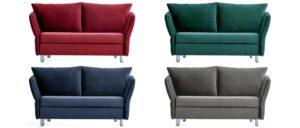 LUINO Schlafsofa von Franz Fertig in rot, grün, blau und grau. Sofa mit Bettfunktion. Sofabett. Schlafsofa als Gästebett für 2 Personen.