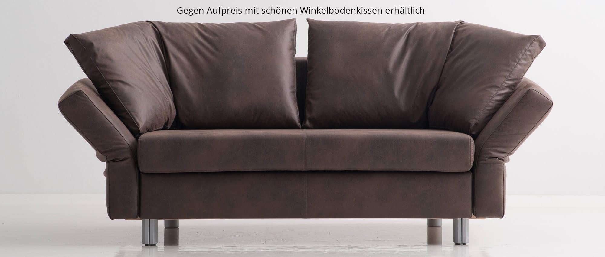 VIP Schlafsofa in Echtleder braun von Franz Fertig. Schlafsofa für 2 Personen. Gästebett mit Schlaffunktion.