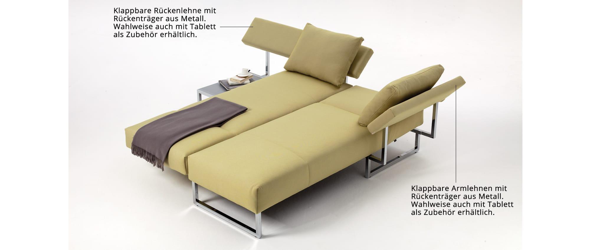 TWINSET Eckschlafsofa von Franz Fertig. Schwenkbare Sitzfläche. Klappbare Arm- und Rückenlehne. Chromkufen und Sofa in gelb.